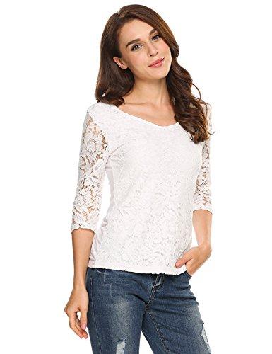 Zeagoo Damen Shirt Bluse V-Ausschnitt Patchwork Spitze Floral T-shirt Slim Langarm Casual Tops Weiß