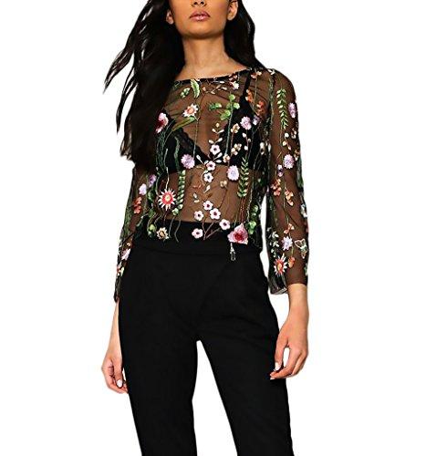 Blusas Mujer Manga Larga Originales Elegantes Chic Camisetas Transparentes Tul Bordadas De Flores Tops Fiesta Dulce Cuello Redondo T Shirt Primavera Verano