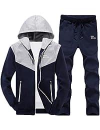 e54c95b9b87a8 chenshijiu Men Hood Long Sleeve Jacket and Pants Two Piece Sweatsuit Set