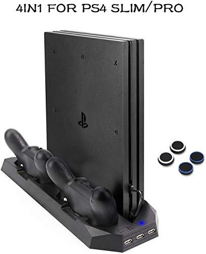 Soporte PS4 Slim / PS4 Pro Cargador de vertical con ventiladores Estación de carga controladores duales, HUB USB para Sony PlayStation 4 Cargador de consola Slim/ Pro Dualshock4 (No para PS4 regular)