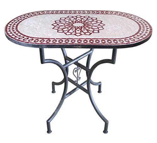 Saharashop Orientalischer Mosaiktisch Stern Bordeaux Oval