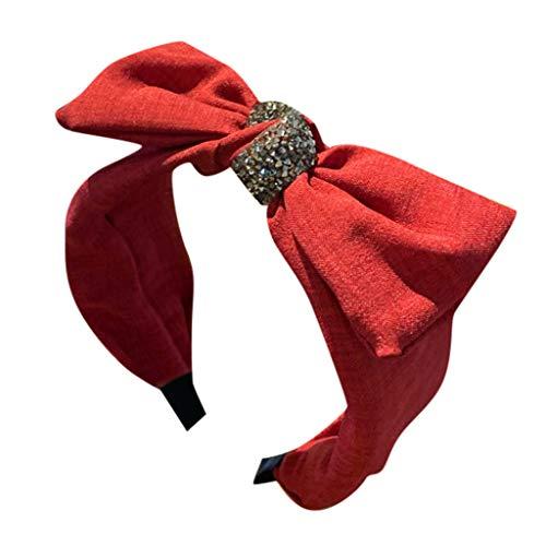 kolila Günstige Stirnband Clearance!!!Damen Vintage Einfache Stretchy Wide-Krempe Bow Haarband Zubehör Haarspangen Stirnbänder(Rot)