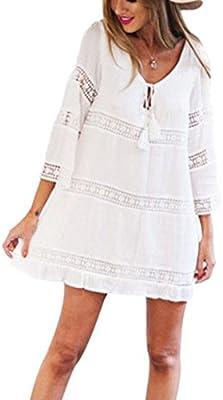 SMARTLADY Mujeres Encaje Boho Playa Mini vestido