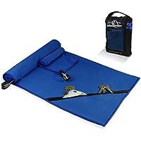 Juego de toallas de microfibra + funda de transporte | Set de 2 azules: grande para baño, pequeño para cuerpo y cara | Ultra–ligeras, absorbentes, de secado rápido | Deporte, viaje, playa, gimnasio