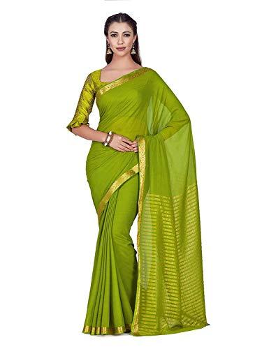 hiffon Saree with Blouse Piece (4275-308-SD-OLV_Green_Free Size) Olive Green Silk Saree