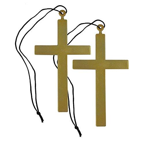 com-four® Priester-Kreuz mit Halsband im Set (2 -