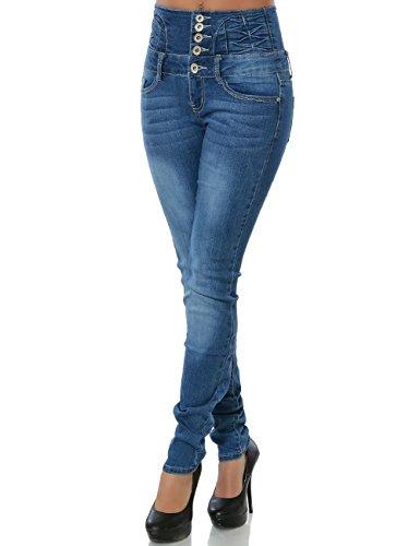 Damen Jeans Skinny (Hochschnitt Röhre) No 15507 Blau