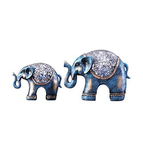 MWPO Handwerk Lucky Elephant Styling Ornamente Skulptur Wohnzimmer Schlafzimmer Foyer Korridor Dekoration (Farbe: Silber blau)