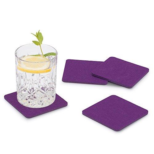 FILU Filzuntersetzer eckig 8er Pack (Farbe wählbar) violett / lila - Untersetzer aus Filz für Tisch und Bar als Glasuntersetzer / Getränkeuntersetzer für Glas und Gläser rechteckig viereckig