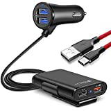 JOYSEUS Car Charger with Free Type C Cable, 4 Ports Fast Charging 3.0 USB Car Charger for iPhone, iPads, Android, Samsung, Tablets, Mobile Phone Devices (Black)