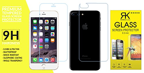 RKMOBILES Amazing PRO+ 0.3 mm 2.5D 9H Hardness Anti-Explosion Front and Back Tempered Glass Phone Screen Protector For Apple iPhone 7 Plus 5.5 inch - Retail Packaging - Transparent (Front and Back Both, Back Tempered will not stick to the Matte Black Version)