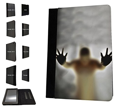 002936 - Scary Ghost Figure Zombie Walking Dead Design Amazon Kindle Paperwhite 6'' 2014/2016 TPU Leder Brieftasche Hülle Flip Cover Book Wallet Stand halter Case