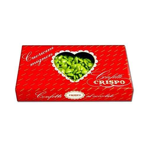 Confetti Crispo Cuoricini mignon Verdi Miniconfetti verdi al cioccolato a forma di cuore ripieni di cioccolato fondente finissimo. Perfetti per ogni occasione: battesimo, nascita matrimonio e feste di ogni genere! Gustosi e fantasiosi, ideali per la ...