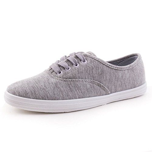 Marimo Trendige Low Top Damen Schnür Sneaker Schuhe in Textil Grau 38