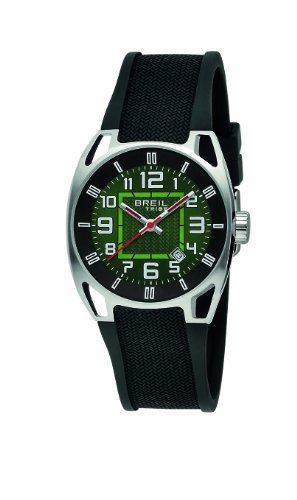 Breil Men's Watch TW0456 With Green Analogue Dial And Black Rubber Strap