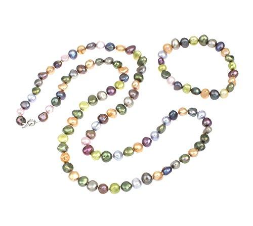 elegant-irreguliere-eau-douce-collier-de-perles-et-bracelet-parure-multicolore