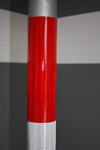 UvV Aufkleber - Markierungsfolie Warnmarkierung 1260 mm - High Prismatic, rot und weiss, 6 Folien je 210 x 100 mm für KFZ, Anhänger, Schilderpfosten, besonders stark reflektierend