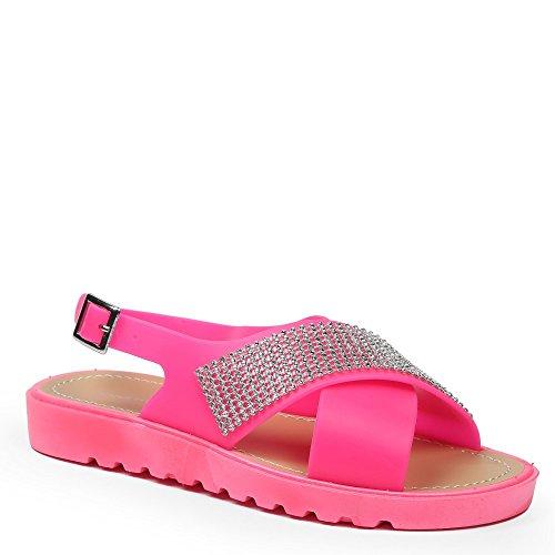 Ideal-Shoes Sandali piatti con strisce incrociate e strassées Macaire Rosa (Fucsia)
