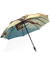 ISAOA Paraguas de Viaje automático, Compacto, Plegable, Paraguas de la Suerte, Elefante