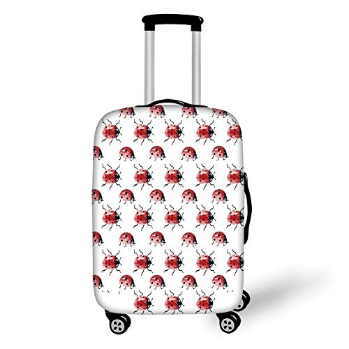 Travel Luggage Cover Suitcase Protector,Watercolor,Lady Bug Pattern Cute Animal Design Insect Ornamental Spring Image Decorative,Vermilion Black White,for Travel,L