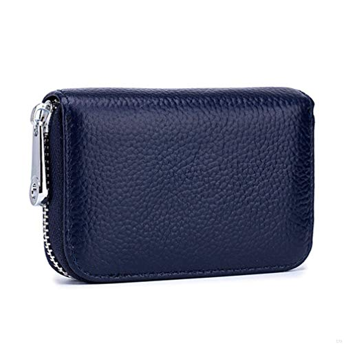 Womens Credit Card Holder Wallet Zip Leather Card Case RFID Blocking Ladies Small Blocked Accordion Wallets with Stainless Steel Zipper Woman Compact Accordian ID Cards Bag Deep Blue - Leder-card Holder Wallet