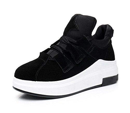 sceglie i pattini pendenza delle donne dal fondo pesante con scarpe da ginnastica scarpe casual scarpe da corsa studente focaccina signora caduta scarpe femminili è aumentato Black