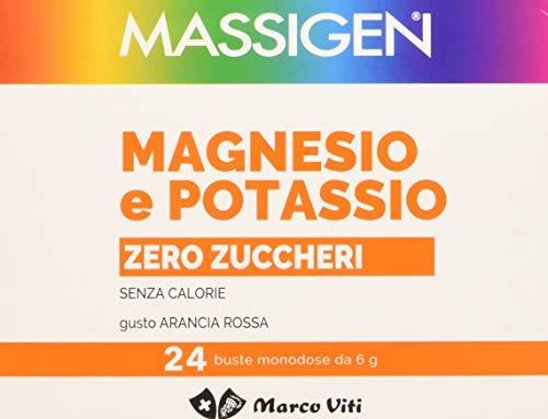 Massigen Magnesio e Potassio Zero Zuccheri Integratore Alimentare Pacco da 24 x 6 g