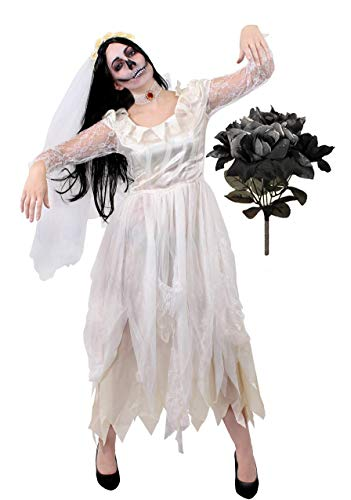 Fancy Dress Rose Kostüm Flower - ILOVEFANCYDRESS Damen Geist Braut KOSTÜM - Halloween Leiche Braut KOSTÜM Plus GEFÄLSCHTE Schwarze Rose Bouquet PERFEKT FÜR Halloween ODER Horror Themen Partys (XX- GROß)