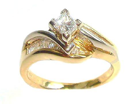 Diamant 1.00carat–Étui pour bague en or 14K Deux Tons