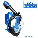 MOVTOTOP Tauchmaske Vollmaske Schnorchelmaske mit 180 Grad Blickfeld und Kamerahaltung Vollgesichtsmaske, 100% Anti-Fog/Anti-Leak für Kinder und Erwachsene (S/M)