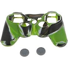 Funda Cáscara de Silicona Protector para PS2 PS3 Controlador de color Verde y 2 Tapas para PS2,2 Xbox 360 de Color Gris