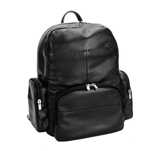 Dual Compartment Laptop Backpack, Leather, Mid-Size, Black - Cumberland   Mcklein - 88365