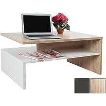 RICOO Tavolino basso da divano da soggiorno Design WM080ES Tavolo da salotto giorno mobile da lavoro moderno con due piani / quadrato rettangolare / in legno / colore rovere Sonoma e bianco