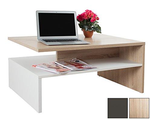 RICOO Table Basse carrée Design pour Salle de séjour WM080-W-ES avec Porte-revues Décoration Maison Salon en Bois Decor en Couleur Blanc et Chêne Sonoma
