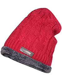 2852d97ef91a9 Krystle Men s Wool Knitted Cotton Warm Winter Hat with Inside Fur Beanie  (Red