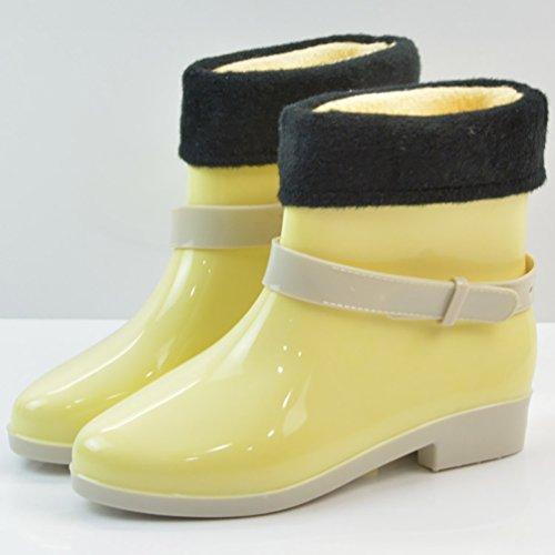 LvRao Damen Wasserdichte Nette Schnee Regen Schuhe Niedrige Knöchel Gummistiefel Kurze Regenstiefel Gelb mitGefütterte