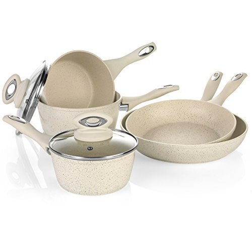 Salter 8 Piece Induction Non Stick Marble Coated Pan Set Saucepan Frying Fry Pan Kitchen Cookware