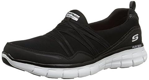 Skechers SynergyScene Stealer, Sneakers Basses femme - Noir (BKW), 39 EU