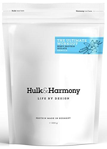 Hulk&Harmony │Premium Whey Protein Isolate (WPI) │Kohlenhydrat-, fett- und laktosearm │Mit ♥ hergestellt in Deutschland │Hochkonzentriertes Eiweißpulver für Post-Workout-Shakes, reich an BCAA │500 g │Vanille (Mann-sport Iso Amino)