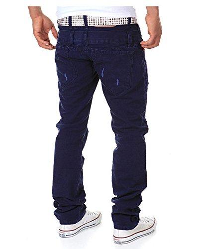Pantaloni Cargo da Uomo - Pantalone Sportivi Casual Trouser del Foro Strappati Blu Navy
