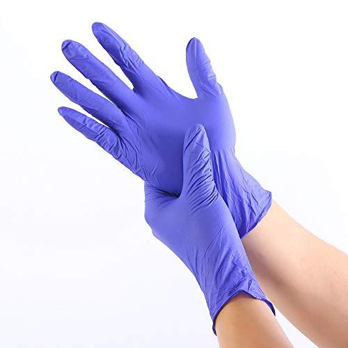Nuofake Handschuhe Lebensmittel Medizinische Tests Haushaltsreinigungshandschuhe Antistatische Handschuhe 100 STÜCKE/Verschleißfeste Nitril-Einweghandschuhe (Color : Blue, Size : L)