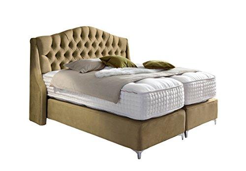 Haskins-Betten Boxspringbett, Leder, Beige, 180 x 180 x 130 cm
