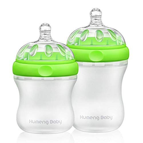 Bright love BPA Free Library Mask Baby Bouteille en Silicone Set 160mL + 230mL,Green