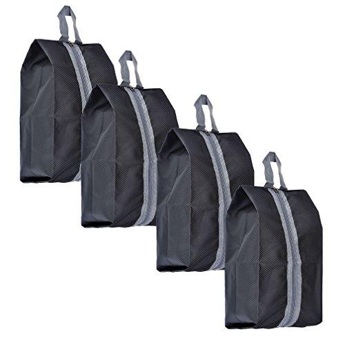Mangostyle set di 4 borsa per scarpe portascarpe in poliestere viaggi sacchetto dell'organizzatore ideale per i viaggi portatile antipolvere impermeabile 4pcs - nero