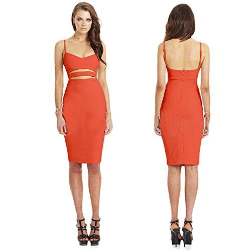 Culater® Femmes Celeb Creux Sangle Hanche Jupe Robe Salopette Orange