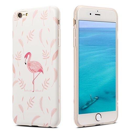 Coque iPhone 6 , Coque iPhone 6S , Etui Housse en Silicone Gel TPU de Protection Case Cover Souple Flexible Ultra Mince avec Feuilles et Flamingo motif Mode Dessin pour Apple iPhone 6 / iPhone 6S (4.7 Rose Feuilles et Flamingo