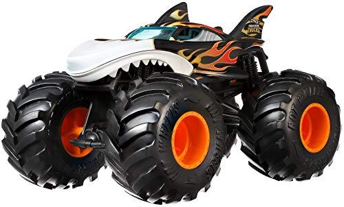 Mattel- Hot Wheels-Monster Trucks Vehículo Shark Wreak 1:24, Coches de Juguetes niños +3 años GCX13