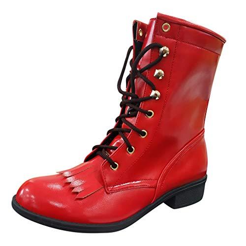 COZOCO Damen Runde Toe Schnürstiefel wasserdichte Flache Stiefel Klassische Einfarbige Freizeitschuhe(rot,40 EU)