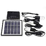 koulate Solar Power Panel, Solar Mobile Lighting System 4W Outdoor 3 LED Lampadine Caricabatterie per Garden Home