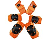 DOOUYTERT 6 Teile/Satz Erwachsene Sport Schutzausrüstung Set mit Ellenbogen Knie Handgelenk Pad für Multi Sport (Orange)